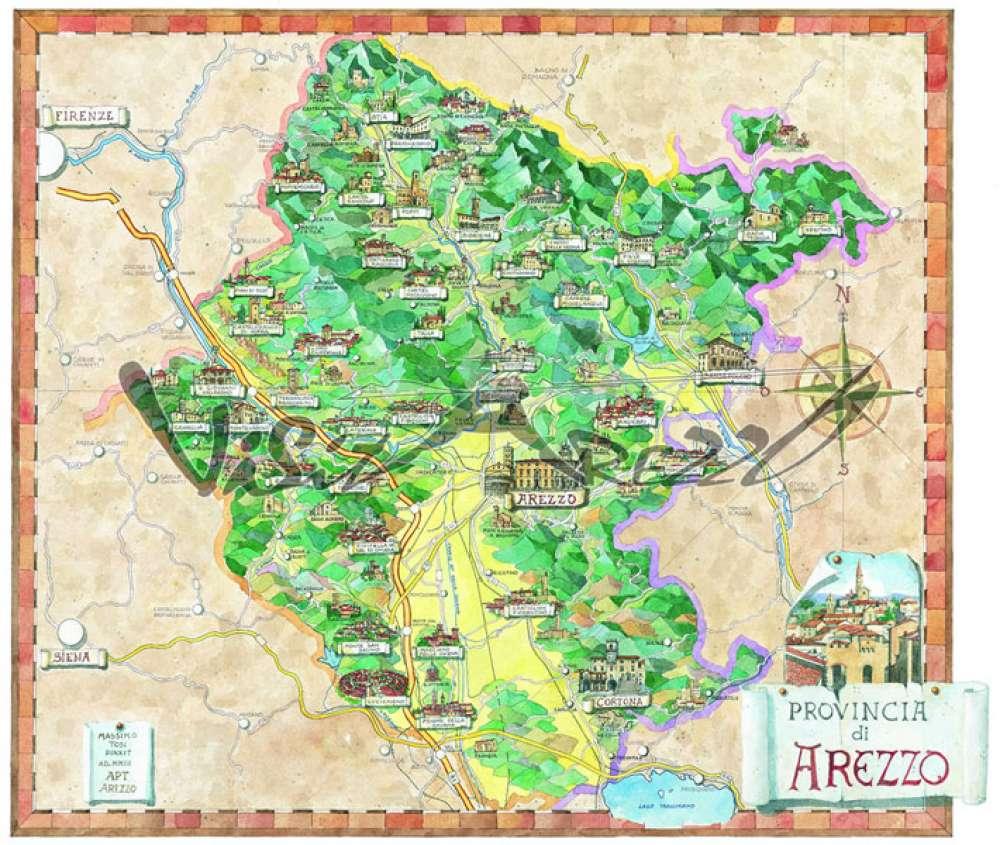 Cartina Geografica Provincia Di Firenze.Cartina Provincia Di Arezzo Mappa Turistica Cosa Vedere E Visitare Ad Arezzo E Provincia Musei E Itinerari